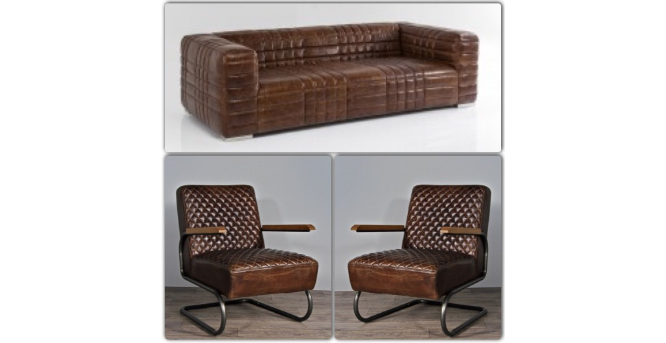 "Canapé ""Richard"" + 2 fauteuils  ""Peter"" cuir marron"