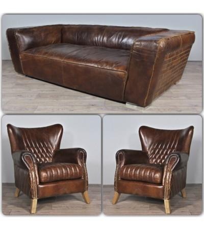 "Canapé ""Soho"" + 2 fauteuils ""Lewis"" cuir marron"