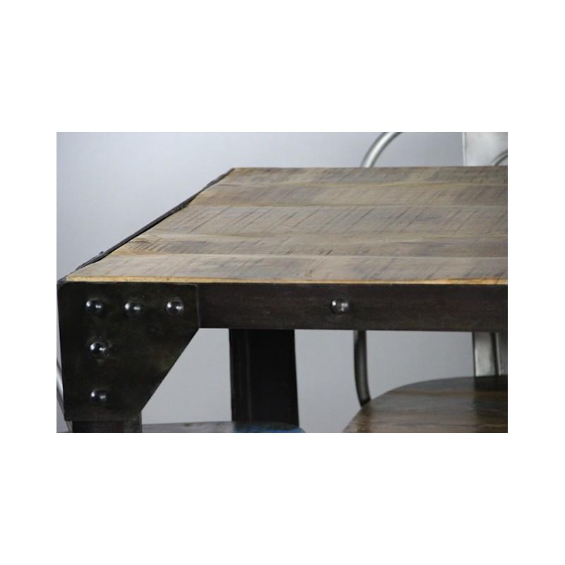 Table haute de repas de style industriel for Table repas style industriel