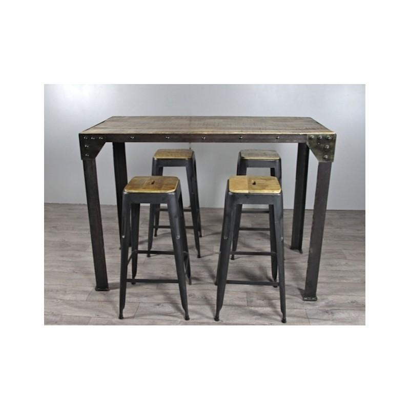 table haute de repas de style industriel. Black Bedroom Furniture Sets. Home Design Ideas