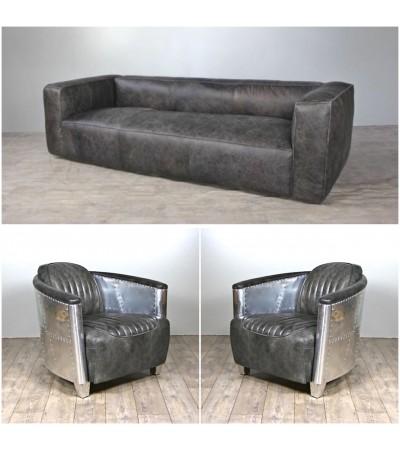 "Sofa ""Lancaster"" 3 Sitzer und 2 Aviator Sessel ""Mermoz"" in Graue Vintage Leder"