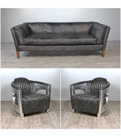 "Sofa ""Clive"" 3 Sitzer und 2 Aviator Sessel ""Chuck"" in Graue Vintage Leder"