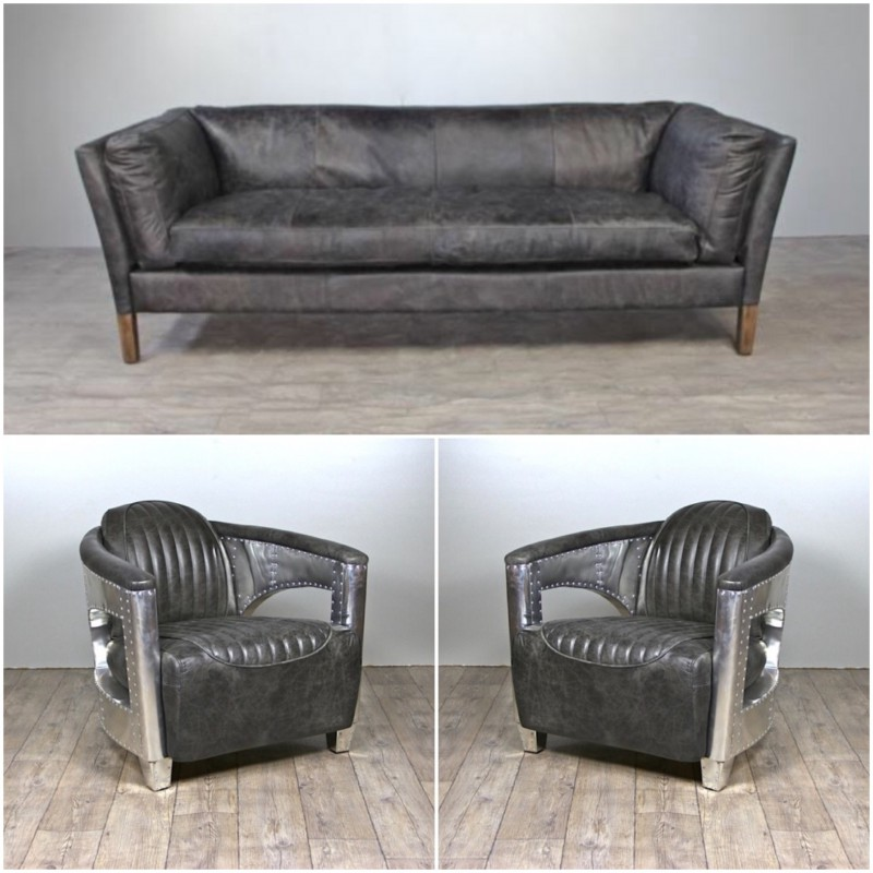 canap cuir gris vintage avec 2 fauteuils aviateur cuir. Black Bedroom Furniture Sets. Home Design Ideas
