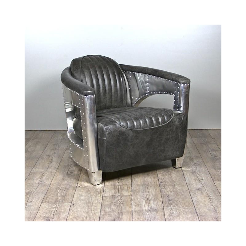 Canap cuir gris vintage avec 2 fauteuils aviateur cuir gris vieilli - Canape avec fauteuil ...