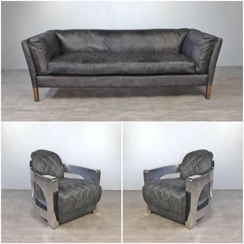 Canapé cuir gris vintage avec 2 fauteuils aviateur cuir gris patiné