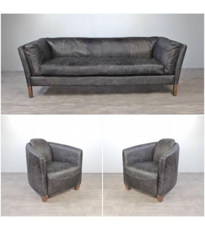 "Sofa ""Clive"" 3 Sitzer und 2 Club Sessel ""Andrew"" in Graue Vintage Leder"