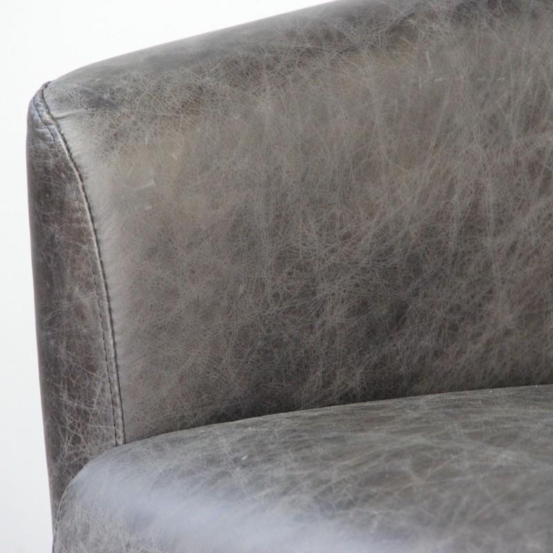 Canapé cuir gris vintage avec 2 fauteuils Club cuir gris vieilli