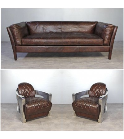 """Sofa """"Clive"""" 3 Sitzer und 2 Aviator Sessel """"Harrisson"""" in Braun Vintage Leder"""