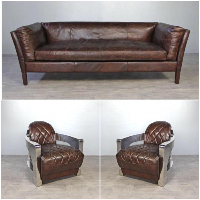 Canap cuir marron vintage avec 2 fauteuils aviateur cuir for Canape cuir marron 2 places