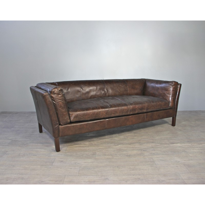 Canap cuir marron vintage avec 2 fauteuils aviateur cuir for Canape avec fauteuil