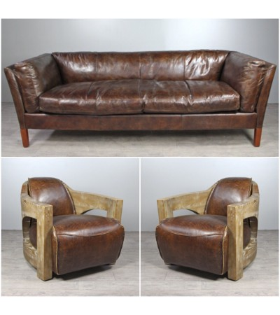 "Sofa ""Clive"" 3 Sitzer und 2 Club Sessel ""Malcolm"" in Braun Vintage Leder"