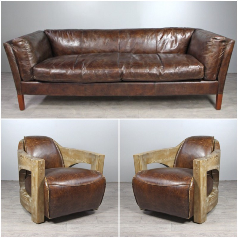 canap cuir marron vintage avec 2 fauteuils club cuir et bois vieilli. Black Bedroom Furniture Sets. Home Design Ideas
