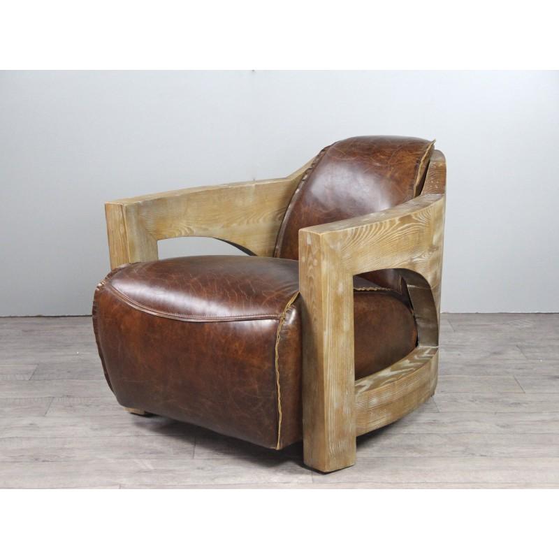 Canapé cuir marron vintage avec 2 fauteuils Club cuir et bois vieilli