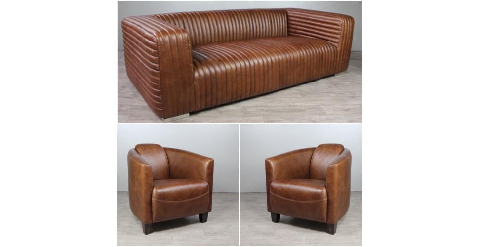 """Sofa """"Gary"""" 3 Sitzer und 2 Club Sessel """"Bryan"""" in Braun Vintage Leder"""
