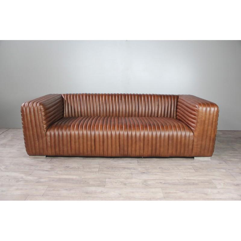 Canap 3 places cuir marron clair avec 2 fauteuils club for Canape avec fauteuil