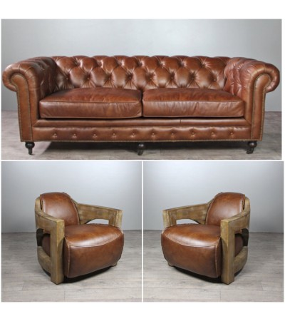 "Sofa Chesterfield 3 Sitzer und 2 Club Sessel ""Malcolm"" in Braun Vintage Leder"