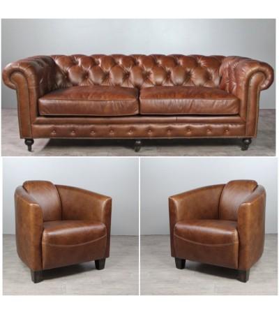 """Sofa Chesterfield 3 Sitzer und 2 Club Sessel """"Bryan"""" in Braun Vintage Leder"""