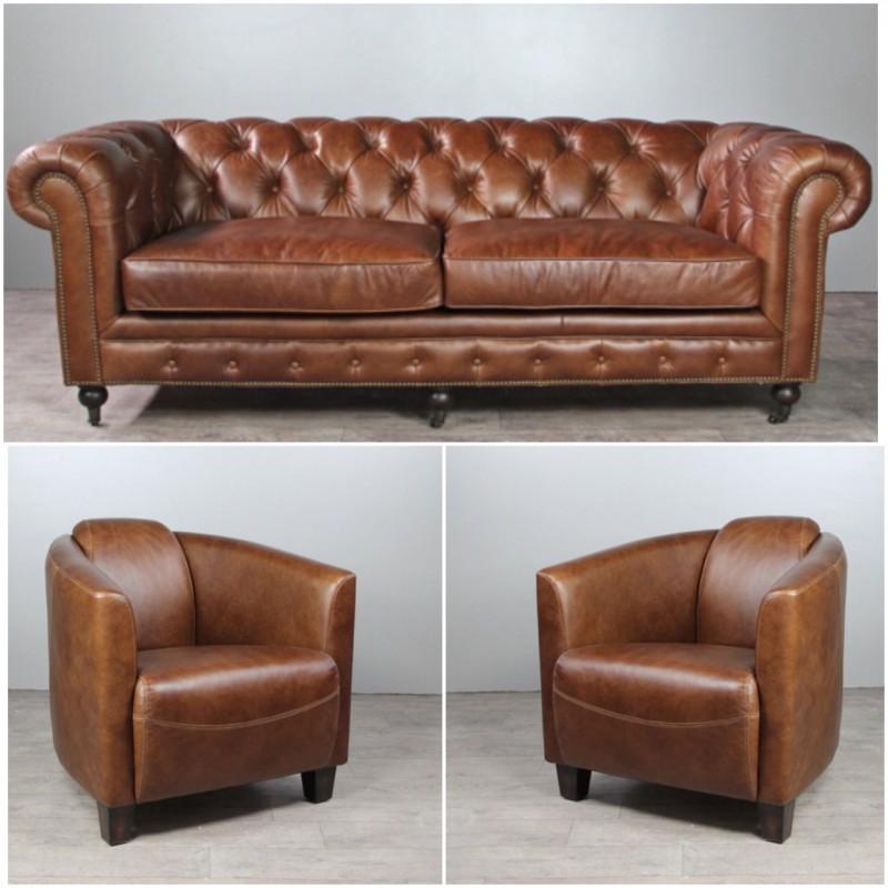 Chesterfield cuir marron clair vintage et 2 fauteuils club for Canape avec fauteuil
