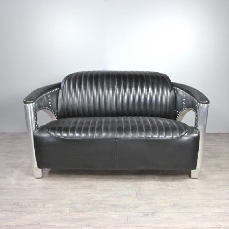Canap et deux fauteuils style aviateur en cuir noir for Canape et deux fauteuils