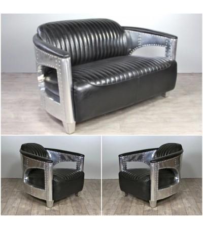"""Sofa 2 Sitzer und 2 Aviator Sessel """"Chuck"""" in Schwarze Vintage Leder"""