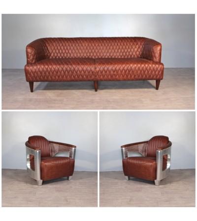 """Sofa """"Joséphine"""" 3 Sitzer und 2 Aviator Sessel """"Chuck"""" in Hena Braun Leder"""