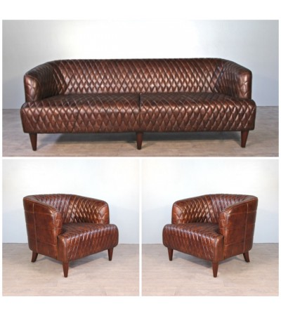 """Sofa """"Joséphine"""" 3 Sitzer und 2 Sessel """"Josephine"""" in Braun Leder"""