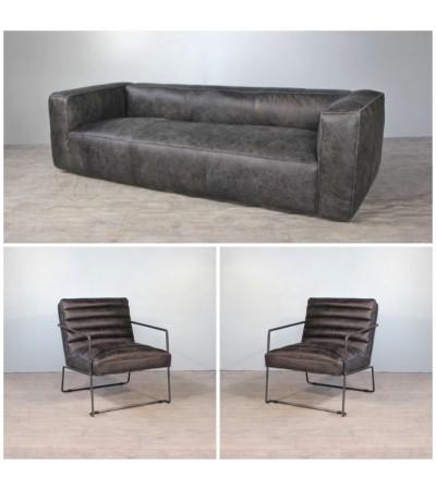 """Sofa """"Lancaster"""" 3 Sitzer und 2 Design Sessel """"Andy"""" in Graue Vintage Leder"""