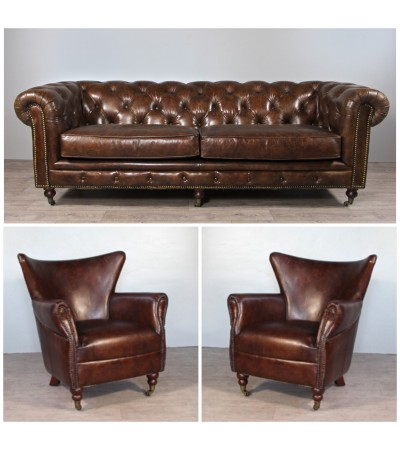 "Canapé Chesterfield ""The First"" + 2 fauteuils ""Danny"" cuir marron"
