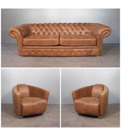 "Canapé Chesterfield ""Newcastle"" + 2 fauteuils  ""Cooper"" cuir marron clair vintage"