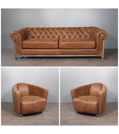 """Canapé Chesterfield """"Nottingham"""" + 2 fauteuils  """"Cooper"""" cuir marron clair vintage LE DERNIER !"""