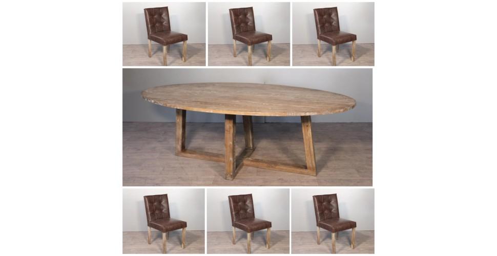 "Ovale Esstisch in Massiv Holz ""Blythe"" 220 cm + 6 braune Leder Stuhlen"