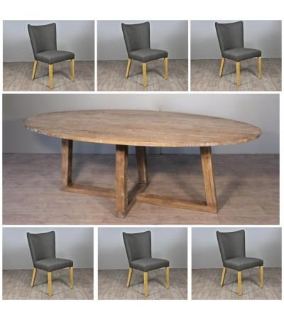 "Ovale Esstisch in Massiv Holz ""Blythe"" 220 cm + 6 Graue Stoff Stuhlen"