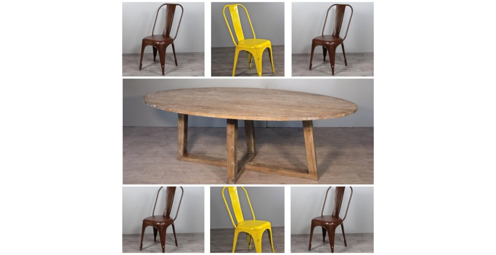 """Table de Repas ovale en bois """"Blythe"""" 220 cm + 6 chaises en métal"""