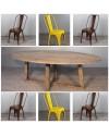 """Ovale Esstisch in Massiv Holz """"Blythe"""" 220 cm + 6 Metal Vintage Stuhlen"""
