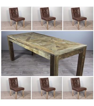 "Esstisch in Massiv Holz ""Castel"" 200 cm + 6 braune Leder Stuhlen"