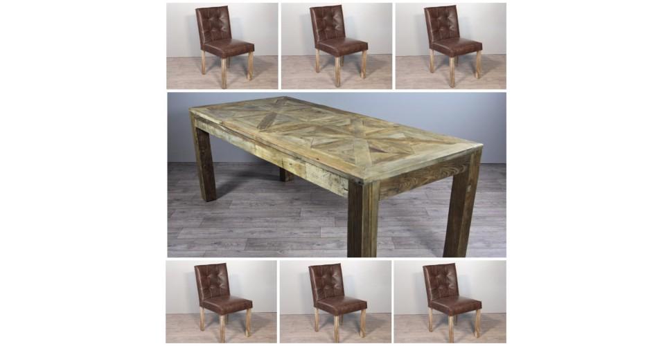 """Table de Repas en bois """"Castle"""" 200 cm + 6 chaises en cuir marron"""