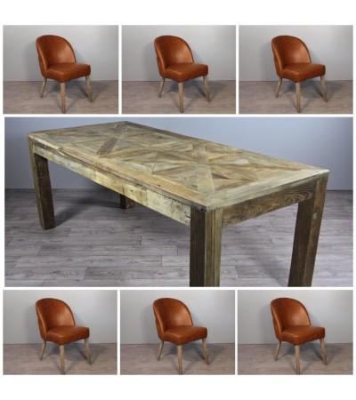 """Table de Repas en bois """"Castle"""" 200 cm + 6 chaises en cuir marron  vintage"""
