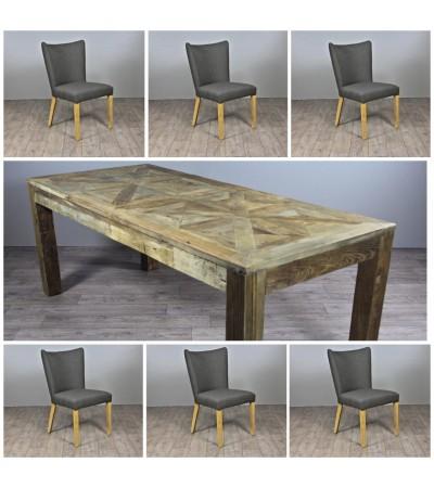 """Table de Repas en bois """"Castle"""" 200 cm + 6 chaises en tissu gris"""