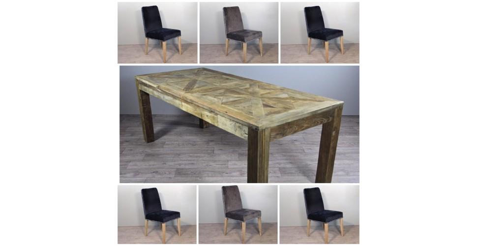 """Table de Repas en bois """"Castle"""" 200 cm + 6 chaises en velours gris ou bleu"""
