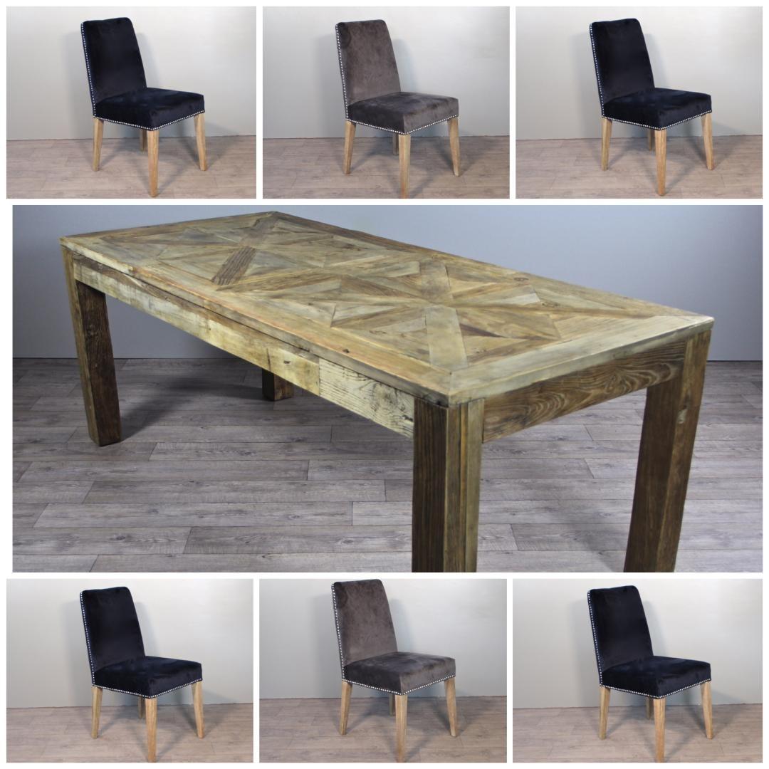 Parquet Table Repas De Et Style Chaises Vintage Bois Velours Tissu En PuikOXZ