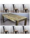 """Table de Repas en bois """"Castle"""" 200 cm + 6 chaises en métal noir et bois"""