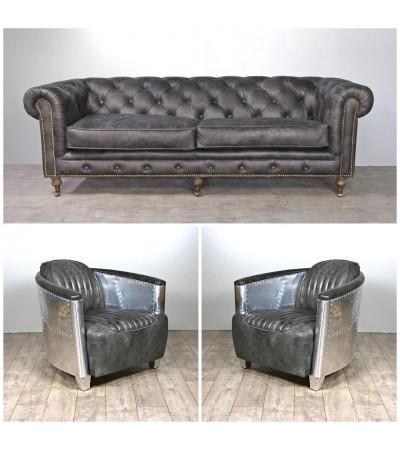 Canapé Chesterfield 3pl + 2 fauteuils aviateur cuir gris