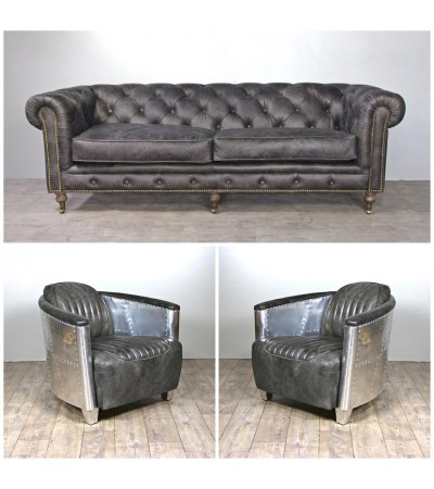 Chesterfield Ledersofa 3 sitze + 2 Aviator Graue Ledersessel Sessel