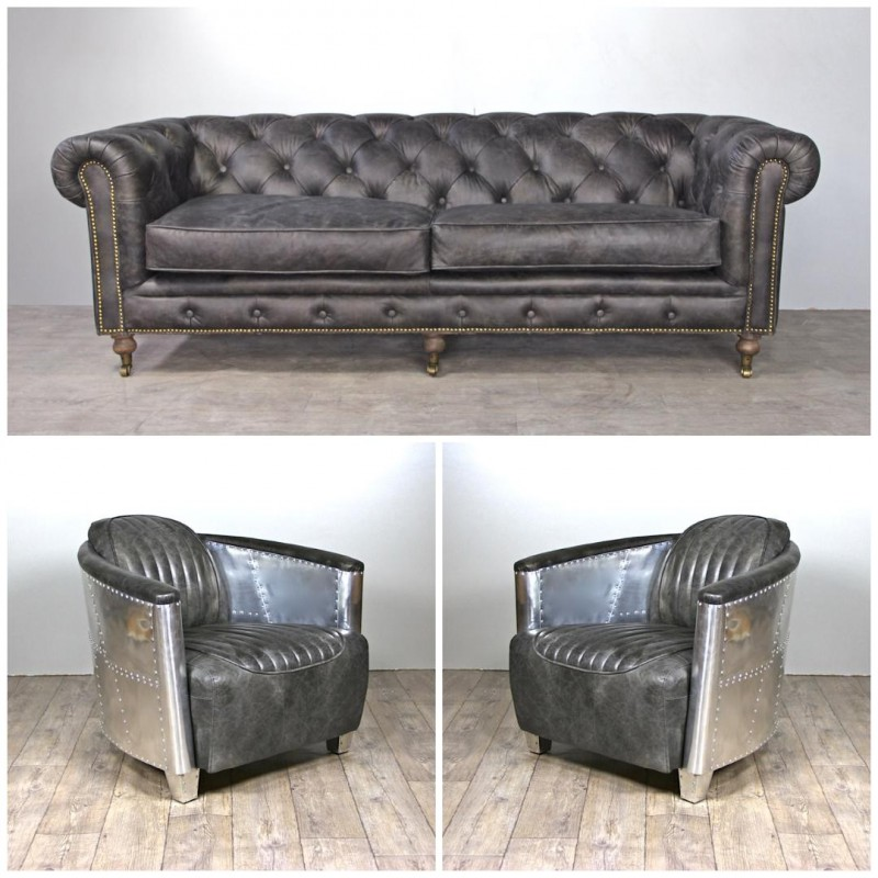 chesterfield graue ledersofa mit 2 aviator graue vintage ledersessel. Black Bedroom Furniture Sets. Home Design Ideas