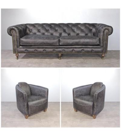 canap chesterfield en cuir marron vintage capitonn et m tal 3 places. Black Bedroom Furniture Sets. Home Design Ideas