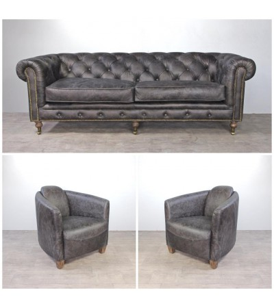 "Sofa Chesterfield 3 Sitzer und 2 Club Sessel ""Andrew"" in Graue Vintage Leder"