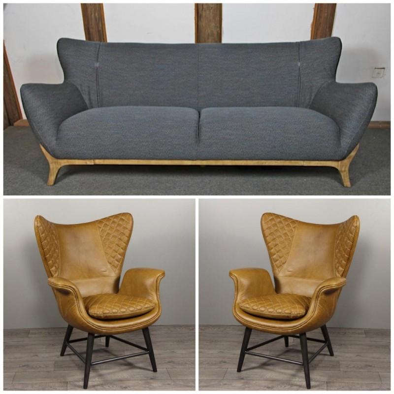 Canapé Tissu Gris Bleu Et Deux Fauteuils En Cuir Marron Clair Vintage - Canape et deux fauteuils