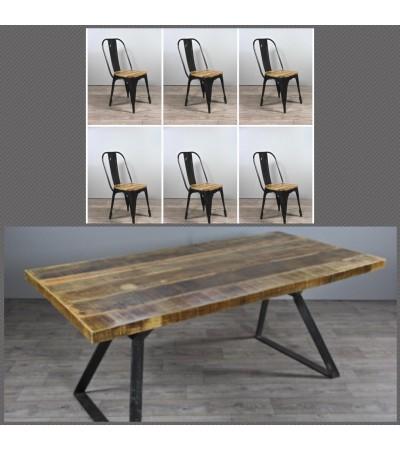 """Table de Repas """"Boston"""" 200 cm + 6 chaises """"Factory"""" noires"""