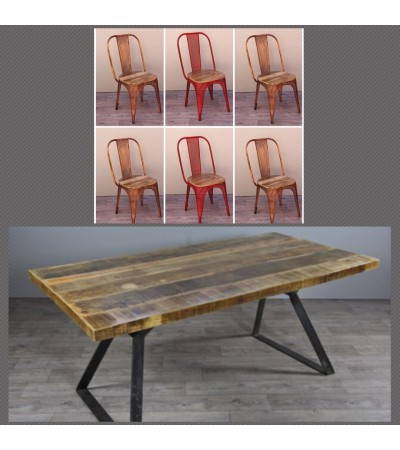 "Table de Repas ""Boston"" 200 cm + 6 chaises ""Factory"""