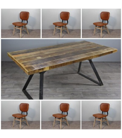 "Table de Repas ""Boston"" 200 cm + 6 chaises en cuir marron ""Brighton"""